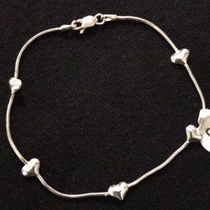 """Hearts 925 Sterling Silver Bracelet Size 8"""""""